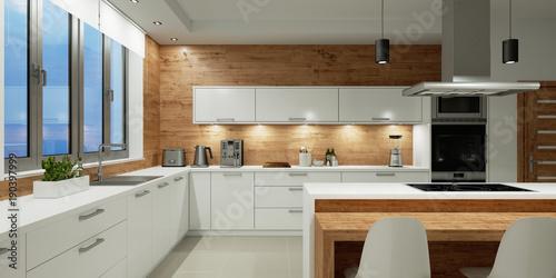 Beleuchtung in weißer Küche bei Nacht