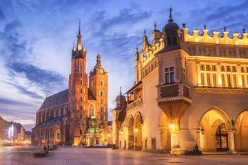 Cloth Hall and St Mary s Church at Main Market Square in Cracow, Poland