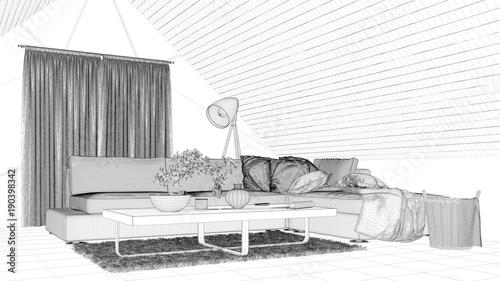 Robert Kneschke   Fotolia.com CAD Entwurf Von Wohnzimmer Im Dachgeschoss