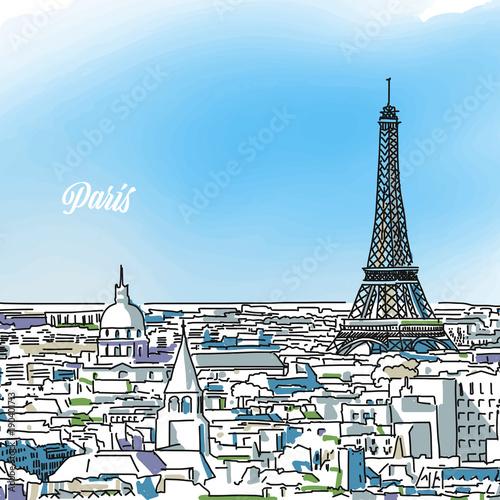 Wall mural Paris Colored Panorama Banner