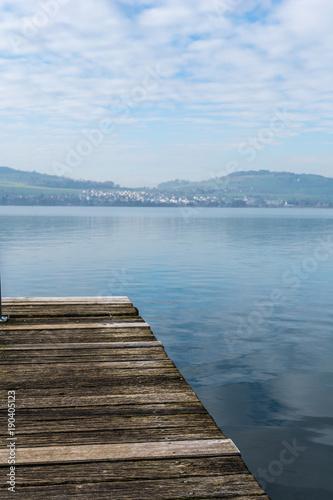 Plexiglas Pier idylle am See mit holzsteg