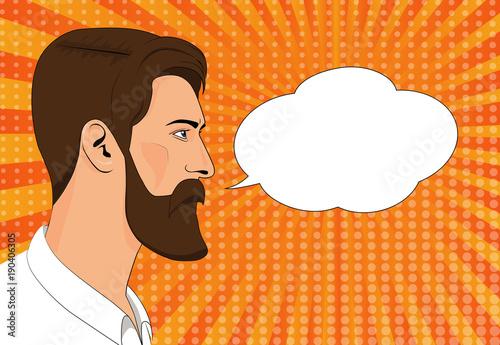 Deurstickers Pop Art Hipster beard male businessman pop art retro vector illustration.