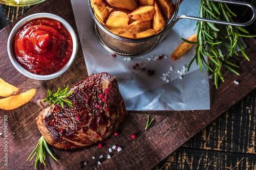 Papiers peints Steakhouse Steak Gericht