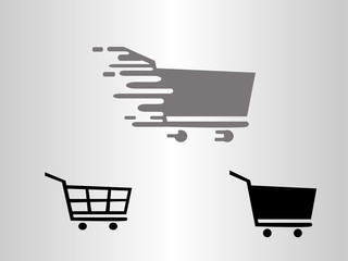 Fast Shopping Cart vector Icon, flat design.