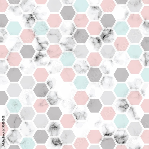 Vector marble texture design with honeycomb pattern, black and white marbling surface, modern luxurious background - 190430303