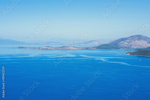 Foto op Aluminium Blauw landscape of the Greek island of Kefalonia against the blue sky.