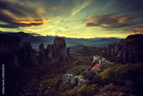 Staande foto Ochtendgloren Meteora monasteries in Greece