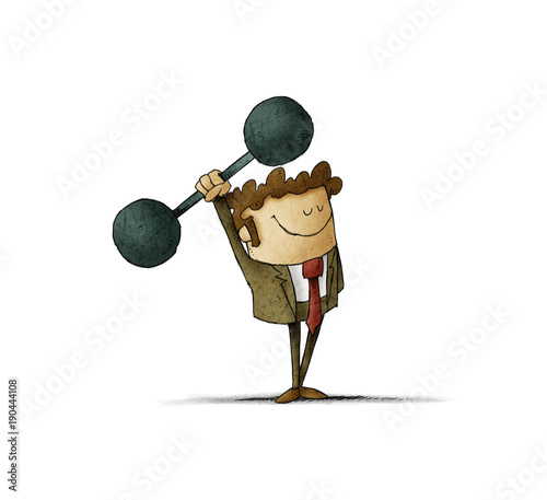 businessman is lifting weights. concept of strength in business. isolated