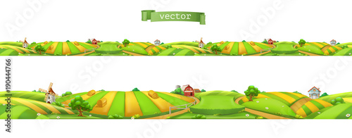 Aluminium Boerderij Farm. Landscape, seamless panorama, 3d vector illustration