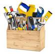 wooden tool box with lot of hand tools isolated on white background / Wekzeugkiste werkzeugkasten aus holz isoliert auf hintergrund weiß