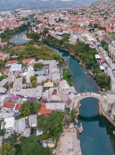 Deurstickers Groen blauw Aerial view on the city Mostar and Old Bridge. Bosnia and Hercegovina.