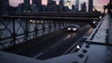 High angle view of cars moving on Brooklyn Bridge at dusk - 190464763