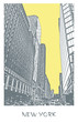 New York City. A street in Manhattan district, cityscape with skyscrapers. Vector illustration in engraving style.