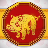Button with a Golden Pig for Chinese Zodiac, Vector Illustration - 190466311