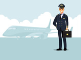 Welcome to travel by plane. Pilot, capitan   Vector illustration cartoon character - 190468568
