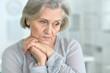 Quadro Beautiful sad elderly woman close-up
