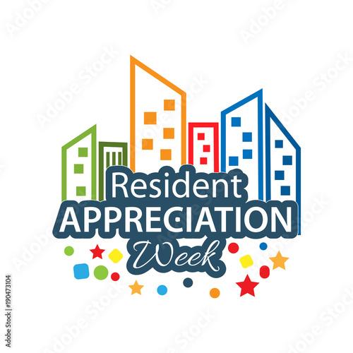 Fotobehang Vintage Poster Resident Appreciation Week vector