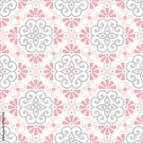 Cotton fabric Ethnic floral seamless pattern with mandalas