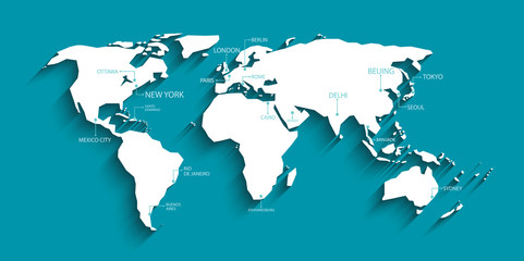 Modern world map with shadow and capital name. vector.