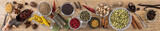 Variety of colorful spices on wooden background, top view, banner - 190476946