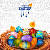Colorful Painted egg Happy Easter greeting background - 190476963