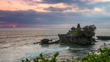 Zoom out shot of Tanah Lot Temple at sunset time. Bali, Indonesia - 190477159