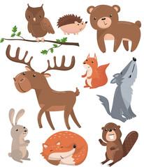 Forest animals set, woodland cute animal owl bird, bear, hedgehog, deer, squirrel, wolf, hare, fox, beaver cartoon vector Illustrations