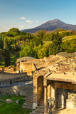 The ruins of ancient city Pompeii and Mount Vesuvius, a famous volcano located on the Gulf of Naples in Campania, Italy, - 190485966