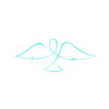Abstract Dove Wings Line Art Symbol Graphic