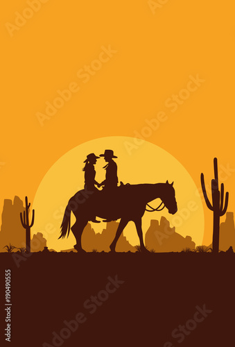 Foto op Plexiglas Bruin Silhouette of Happy Cowboy Couple riding horse, Vector