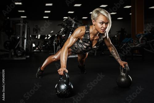 Sticker Sexy sporty girl. Sporty girl on training hall.