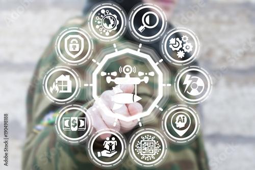 Soldier using virtual touchscreen presses smart automotive drone rocket button Poster