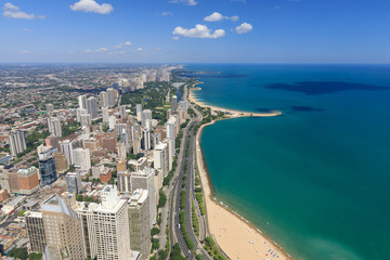 Chicago, lake shore drive, lake michigan, North Avenue Beach, aerial view,