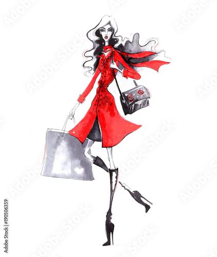 Beautiful young fashion girl. Stylish woman in fashion clothes. Hand drawn girl. © matsiash