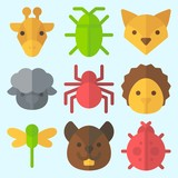 Icons set about Animals with fox, squirrel, sheep, giraffe, spider and hedgehog - 190509929
