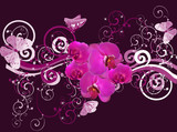 purple composition with orchids and butterflies