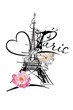 Design with the Eiffel tower and hearts, flowers. Hand drawn illustration.