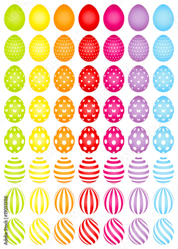 56 Easter Eggs Color White Pattern - 190513116