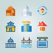 Icon set about Construction. with 5 stars hotel, capitol and house