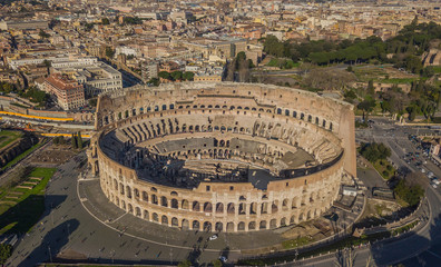Aerial view of Colosseum at sunny day