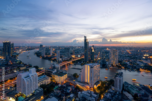 In de dag Bangkok Landscape of Chao phraya river in Bangkok city in evening time with bird view. Bangkok City at night time, Hotel and resident area in the capital of Thailand.