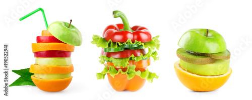 Papiers peints Légumes frais Stack of mixed fruit and vegetable slices