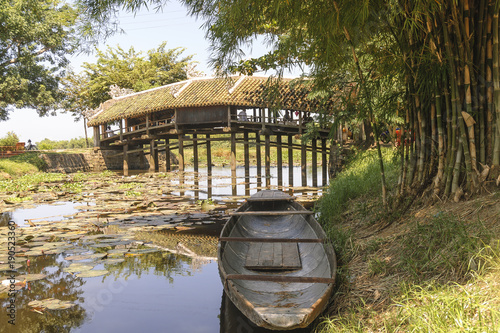 Thanh Toan, ancient Japanese bridge on the river perfume close to the city of Hue in Vietnam.