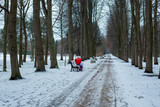 Girl with red heart in hands sits on a Park bench in winter Park. Valentine's day