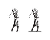Man Playing Golf or People with Stick Golf Illustration Hand Drawing Symbol Logo Vector - 190529139