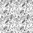 Seamless pattern from Hand draw structure of  leaves black on white in line art for design flyer banner or for decoration package of  tea or cosmetic or  perfume or for design of botanical theme - 190537718