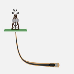 Directional Drilling oil well vector illustration