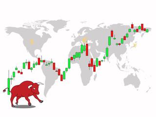 Bullish market for major currency exchange and stock market vector illustration