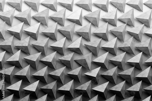 Illustration with repeating shiny pyramids in monochrome colors. 3d illustration.