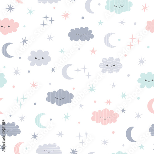 fototapeta na ścianę Cute seamless pattern for kids. Lovely children background with moon, stars and clouds